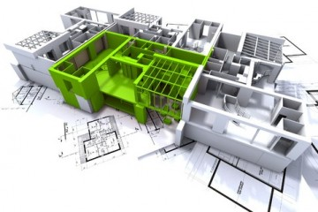 A 3D rendering of a house plan with a highlighted green section sitting on top of a architectural ground plan